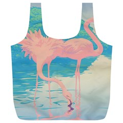 Two Pink Flamingos Pop Art Full Print Recycle Bags (l)  by WaltCurleeArt