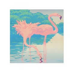Two Pink Flamingos Pop Art Small Satin Scarf (square) by WaltCurleeArt