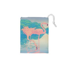 Two Pink Flamingos Pop Art Drawstring Pouches (xs)  by WaltCurleeArt