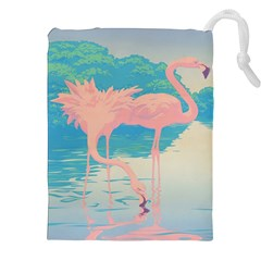 Two Pink Flamingos Pop Art Drawstring Pouches (xxl) by WaltCurleeArt