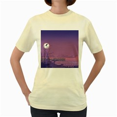 Abstract Tropical Birds Purple Sunset  Women s Yellow T Shirt by WaltCurleeArt