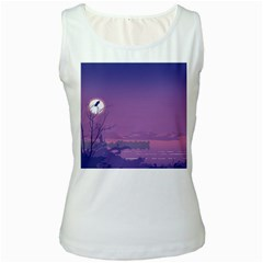 Abstract Tropical Birds Purple Sunset  Women s White Tank Top by WaltCurleeArt