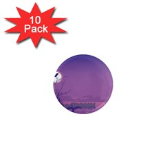 Abstract Tropical Birds Purple Sunset  1  Mini Magnet (10 Pack)  by WaltCurleeArt