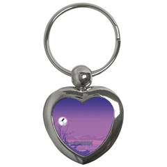Abstract Tropical Birds Purple Sunset  Key Chains (heart)  by WaltCurleeArt