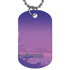 Abstract Tropical Birds Purple Sunset  Dog Tag (one Side) by WaltCurleeArt