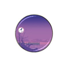 Abstract Tropical Birds Purple Sunset  Hat Clip Ball Marker by WaltCurleeArt