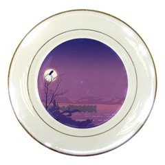 Abstract Tropical Birds Purple Sunset  Porcelain Plates by WaltCurleeArt