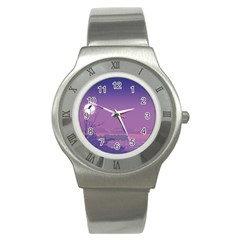 Abstract Tropical Birds Purple Sunset  Stainless Steel Watch by WaltCurleeArt