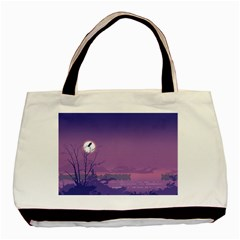 Abstract Tropical Birds Purple Sunset  Basic Tote Bag by WaltCurleeArt