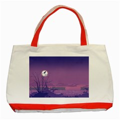 Abstract Tropical Birds Purple Sunset  Classic Tote Bag (red) by WaltCurleeArt