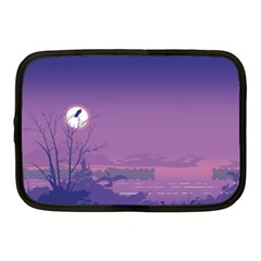 Abstract Tropical Birds Purple Sunset  Netbook Case (medium)  by WaltCurleeArt