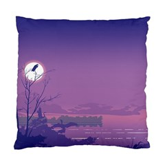 Abstract Tropical Birds Purple Sunset  Standard Cushion Case (one Side) by WaltCurleeArt