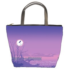 Abstract Tropical Birds Purple Sunset  Bucket Bags