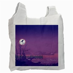 Abstract Tropical Birds Purple Sunset  Recycle Bag (two Side)  by WaltCurleeArt
