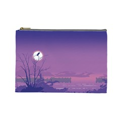 Abstract Tropical Birds Purple Sunset  Cosmetic Bag (large)  by WaltCurleeArt