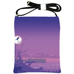 Abstract Tropical Birds Purple Sunset  Shoulder Sling Bags by WaltCurleeArt