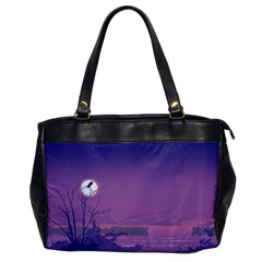 Abstract Tropical Birds Purple Sunset  Office Handbags by WaltCurleeArt