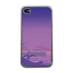 Abstract Tropical Birds Purple Sunset  Apple Iphone 4 Case (clear) by WaltCurleeArt
