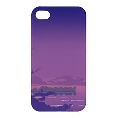 Abstract Tropical Birds Purple Sunset  Apple Iphone 4/4s Hardshell Case by WaltCurleeArt