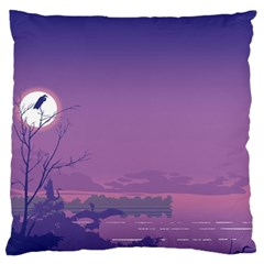 Abstract Tropical Birds Purple Sunset  Large Cushion Case (two Sides) by WaltCurleeArt