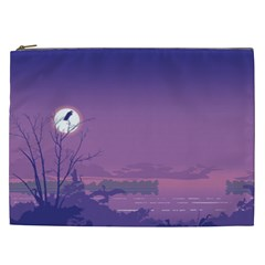 Abstract Tropical Birds Purple Sunset  Cosmetic Bag (XXL)  by WaltCurleeArt