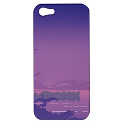 Abstract Tropical Birds Purple Sunset  Apple Iphone 5 Hardshell Case by WaltCurleeArt
