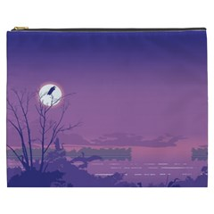 Abstract Tropical Birds Purple Sunset  Cosmetic Bag (xxxl)  by WaltCurleeArt