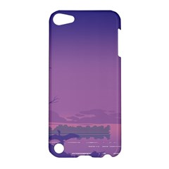 Abstract Tropical Birds Purple Sunset  Apple Ipod Touch 5 Hardshell Case by WaltCurleeArt