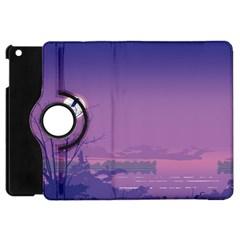 Abstract Tropical Birds Purple Sunset  Apple Ipad Mini Flip 360 Case by WaltCurleeArt