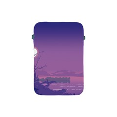Abstract Tropical Birds Purple Sunset  Apple Ipad Mini Protective Soft Cases by WaltCurleeArt