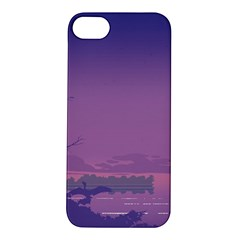 Abstract Tropical Birds Purple Sunset  Apple Iphone 5s/ Se Hardshell Case by WaltCurleeArt