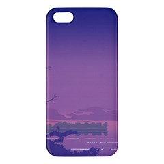 Abstract Tropical Birds Purple Sunset  Iphone 5s/ Se Premium Hardshell Case by WaltCurleeArt