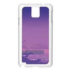 Abstract Tropical Birds Purple Sunset  Samsung Galaxy Note 3 N9005 Case (white) by WaltCurleeArt