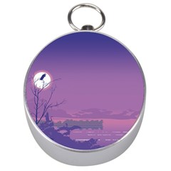 Abstract Tropical Birds Purple Sunset  Silver Compasses by WaltCurleeArt