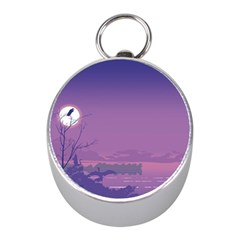 Abstract Tropical Birds Purple Sunset  Mini Silver Compasses by WaltCurleeArt