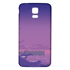 Abstract Tropical Birds Purple Sunset  Samsung Galaxy S5 Back Case (white) by WaltCurleeArt
