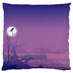 Abstract Tropical Birds Purple Sunset  Large Flano Cushion Case (two Sides) by WaltCurleeArt