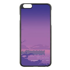 Abstract Tropical Birds Purple Sunset  Apple Iphone 6 Plus/6s Plus Black Enamel Case by WaltCurleeArt