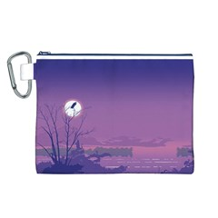 Abstract Tropical Birds Purple Sunset  Canvas Cosmetic Bag (l) by WaltCurleeArt