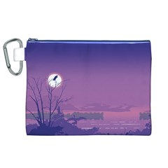 Abstract Tropical Birds Purple Sunset  Canvas Cosmetic Bag (xl)  by WaltCurleeArt