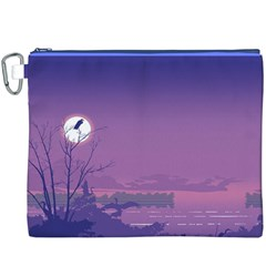 Abstract Tropical Birds Purple Sunset  Canvas Cosmetic Bag (xxxl)  by WaltCurleeArt