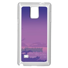 Abstract Tropical Birds Purple Sunset  Samsung Galaxy Note 4 Case (white) by WaltCurleeArt