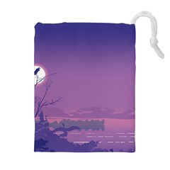 Abstract Tropical Birds Purple Sunset  Drawstring Pouches (extra Large) by WaltCurleeArt