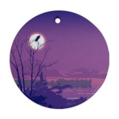 Abstract Tropical Birds Purple Sunset Ornament (round)  by WaltCurleeArt