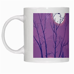 Abstract Tropical Birds Purple Sunset White Mugs by WaltCurleeArt
