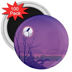 Abstract Tropical Birds Purple Sunset 3  Magnets (100 Pack) by WaltCurleeArt