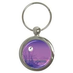 Abstract Tropical Birds Purple Sunset Key Chains (round)  by WaltCurleeArt