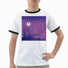 Abstract Tropical Birds Purple Sunset Ringer T-Shirts by WaltCurleeArt
