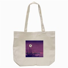 Abstract Tropical Birds Purple Sunset Tote Bag (cream) by WaltCurleeArt