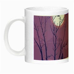 Abstract Tropical Birds Purple Sunset Night Luminous Mugs by WaltCurleeArt